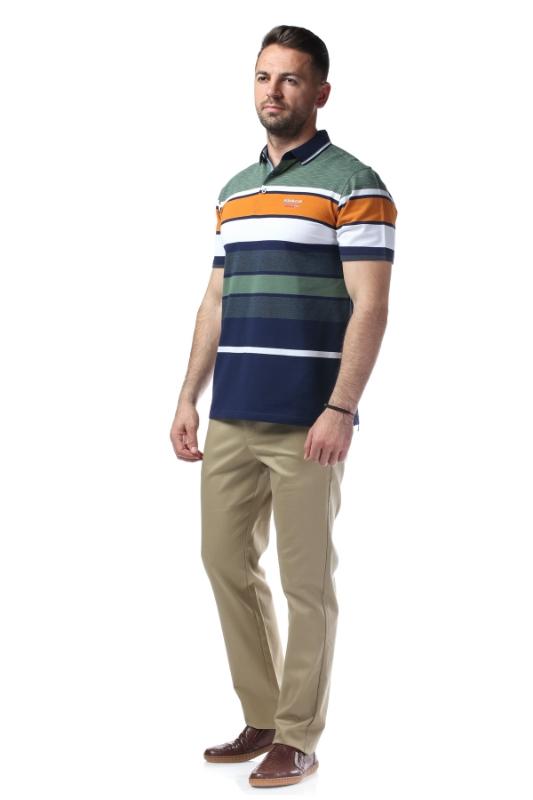 Tricou verde cu dungi albe si bleumarin X1191932S-1
