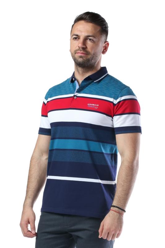 Imagine Tricou turcoaz cu dungi bleumarin si albe X1191932S-3