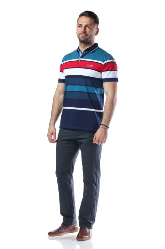 Tricou turcoaz cu dungi bleumarin si albe X1191932S-3