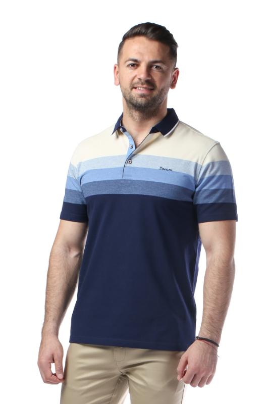 Imagine Tricou bleumarin cu dungi bleu si crem X1191924S-1