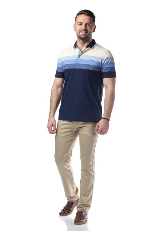 Tricou bleumarin cu dungi bleu si crem X1191924S-1