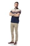 Imagine Tricou bleumarin cu dungi crem si maro X1191924S-2