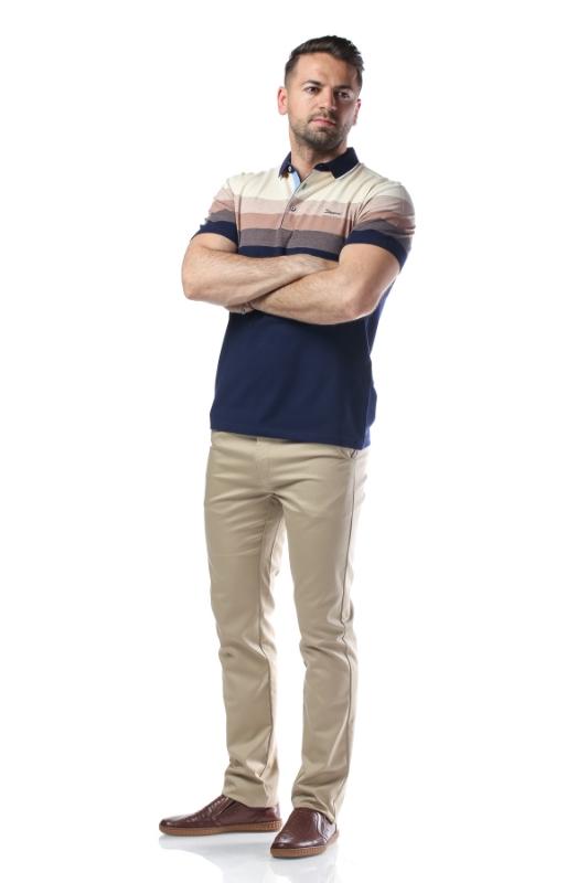 Tricou bleumarin cu dungi crem si maro X1191924S-2