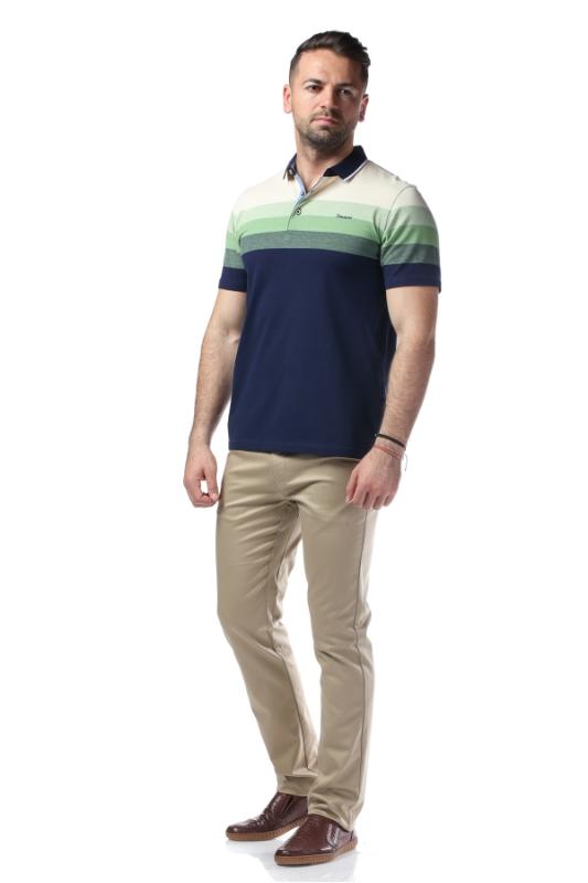 Tricou bleumarin cu dungi crem si verzi X1191924S-3