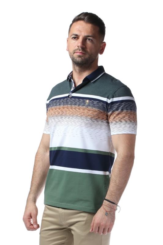 Imagine Tricou verde cu dungi albe si bleumarin X119P9070S-1