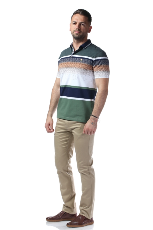 Tricou verde cu dungi albe si bleumarin X119P9070S-1