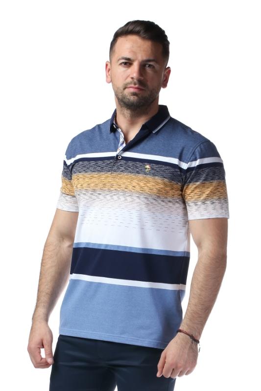 Imagine Tricou gri cu dungi albe si bleumarin X119P9070S-2