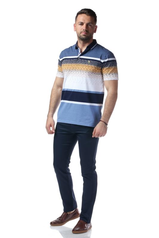 Tricou gri cu dungi albe si bleumarin X119P9070S-2