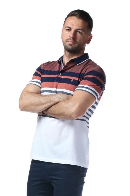 Imagine Tricou alb cu dungi caramizii si bleumarin X1191925S-2