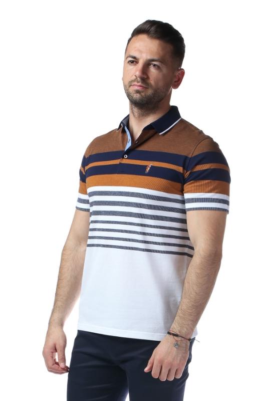 Imagine Tricou alb cu dungi maro si bleumarin X1191925S-3