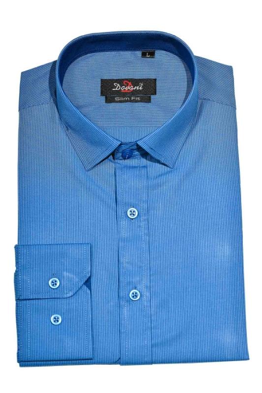 Camasa slim albastra cu dungi 0074-7415 F1