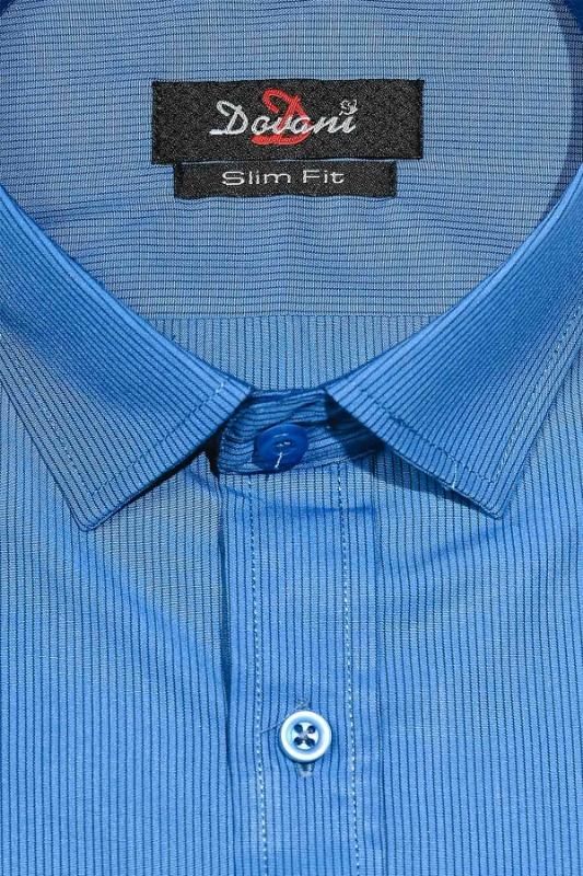 Camasa slim albastra cu dungi 0074-7415