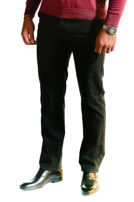 Pantaloni gri inchis in carouri 918-1 F1