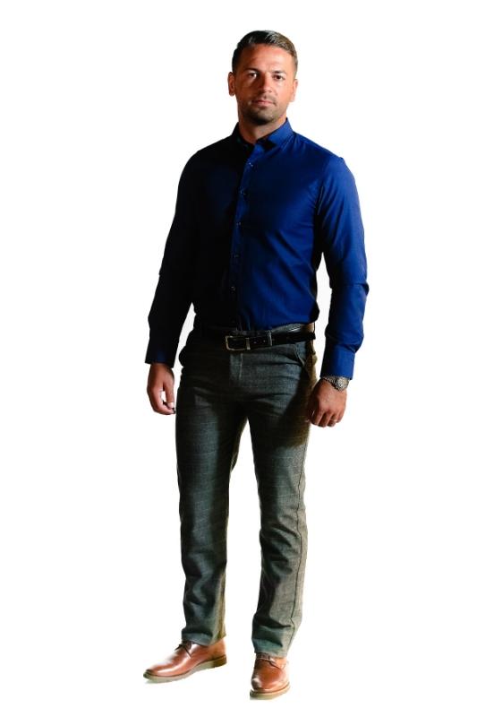 Pantaloni gri deschis in carouri 918-2