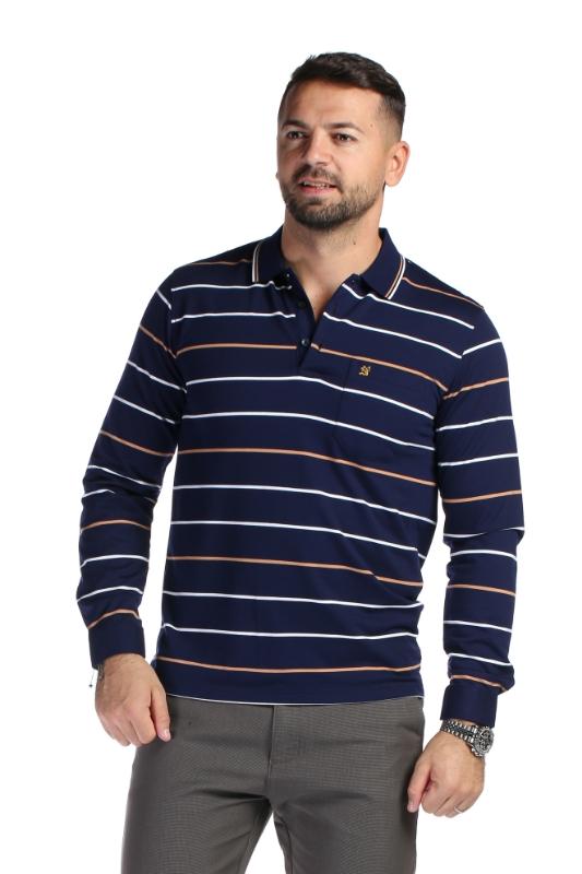 Tricou bleumarin cu dungi albe si bej 169-1 F1