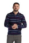 Tricou bleumarin cu dungi albe si rosii 169-2 F1