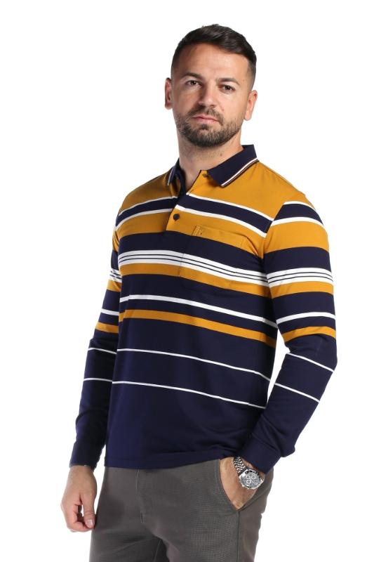 Tricou bleumarin cu mustar A08-2 F1