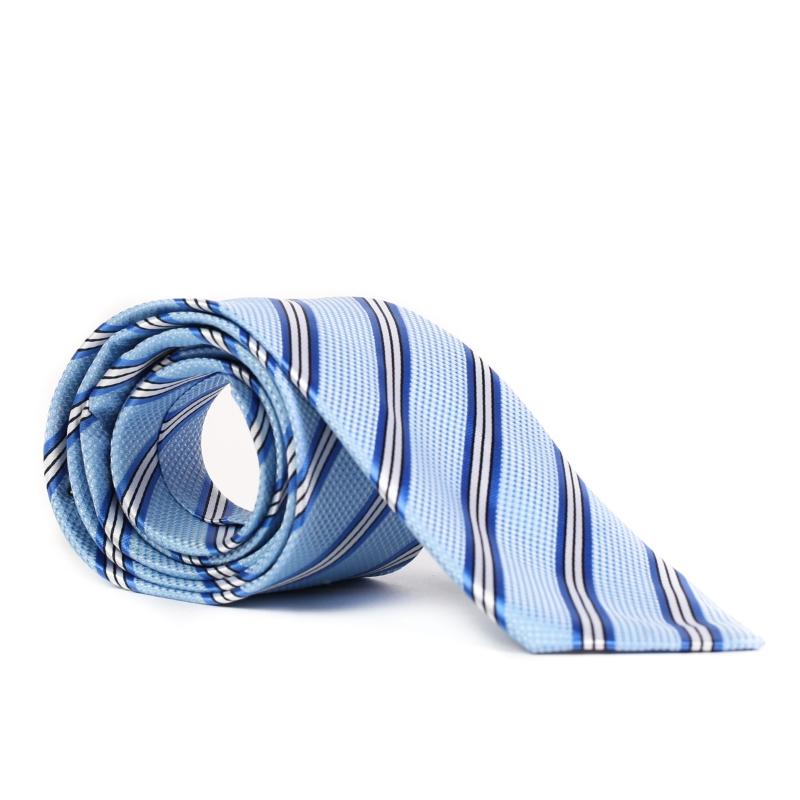Cravata bleu cu dungi albastre F1