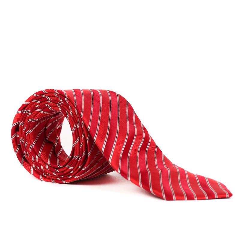 Cravata rosie cu dungi argintii F1