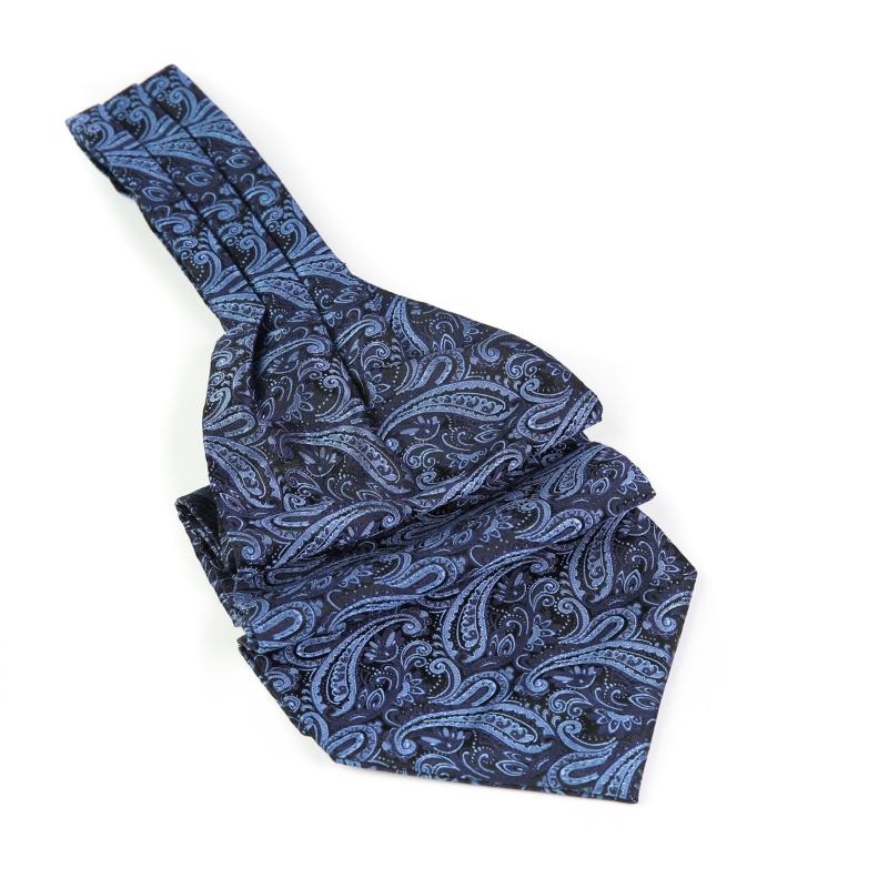 Cravata ascot bleumarin cu model F1