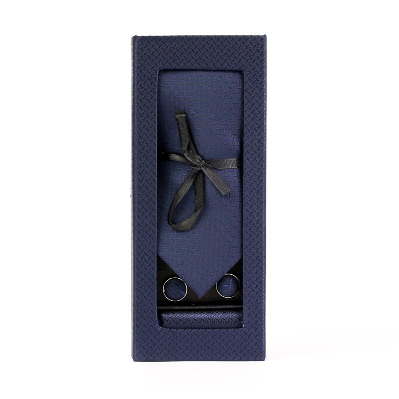 Set butoni, cravata si batista bleumarincu model F1