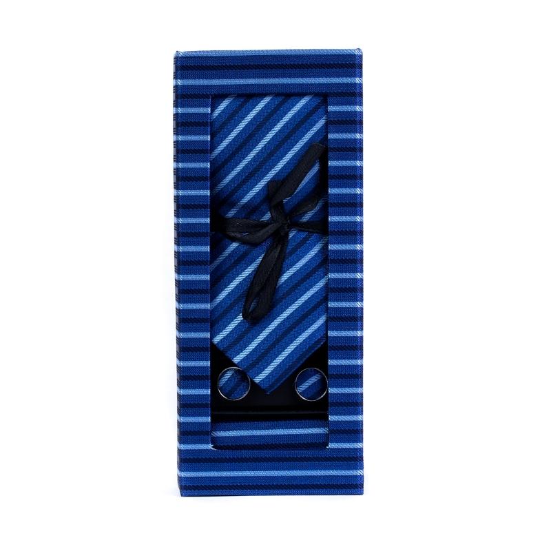 Set butoni, cravata si batista albastra cu dungi F1