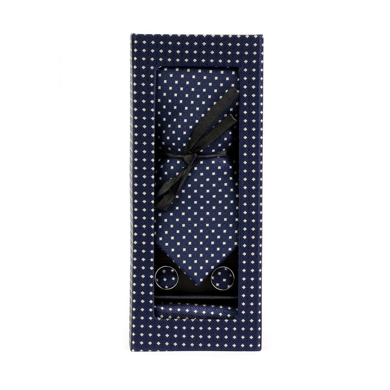 Set butoni, cravata si batista albastru cu puncte albe F1