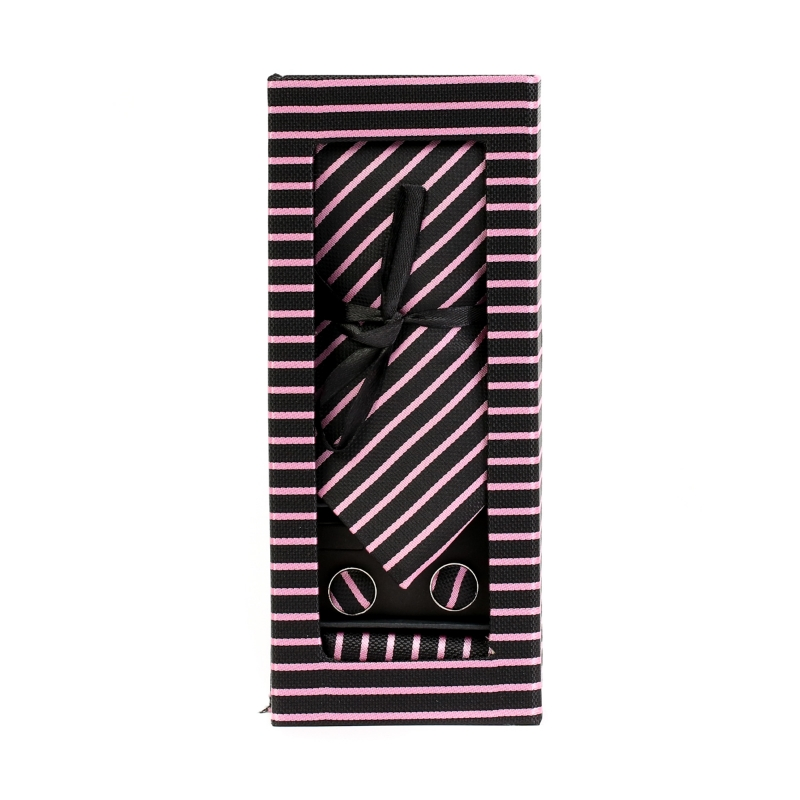 Set butoni, cravata si batista negru cu dungi roz F1