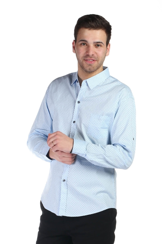 Camasa casual bleu cu model 816-35 F1