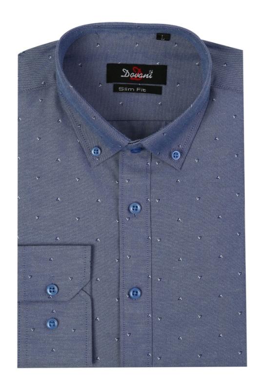 Camasa slim albastra cu imprimeu 18-33 F1