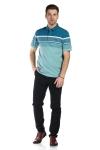 Tricou vernil cu dungi turcoaz si albe X202018S-1 F2