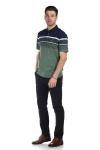 Tricou verde cu dungi bleumarin si albe X202018S-2 F2