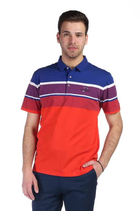 Tricou portocaliu cu dungi albastre si albe X202018S-3 F1