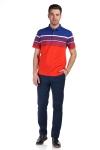 Tricou portocaliu cu dungi albastre si albe X202018S-3 F2