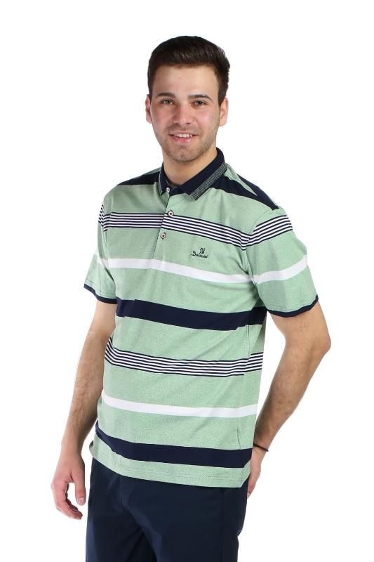Tricou vernil cu dungi bleumarin si albe X202023S-2 F1
