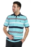 Tricou turcoaz cu dungi bleumarin si albe X202023S-3 F1