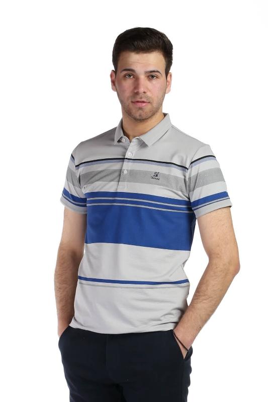 Tricou gri cu dungi albastre 1117-2 F1