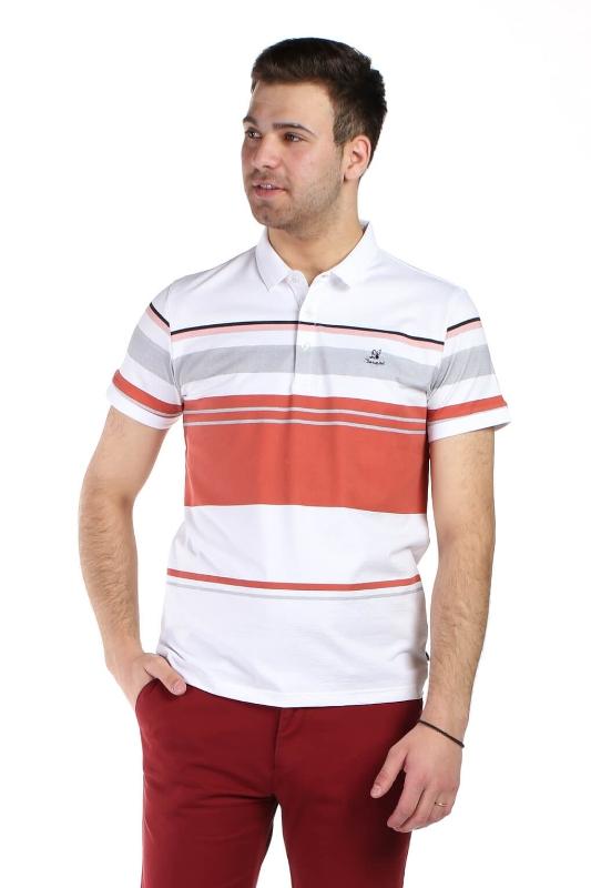 Tricou alb cu dungi caramizii 1117-3 F1