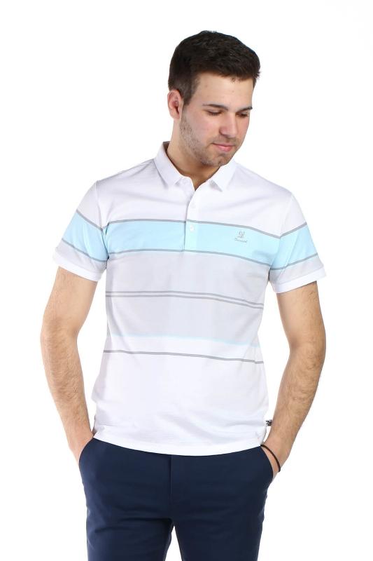 Tricou alb cu dungi bleu si gri 1113-3 F1
