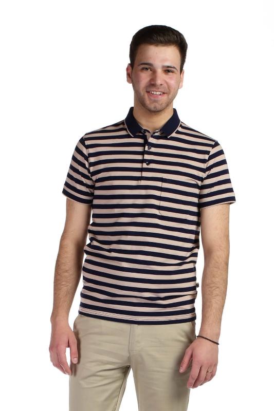 Tricou bleumarin cu dungi bej 9026-3 F1