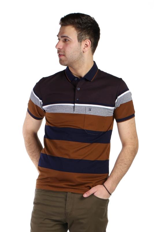 Tricou bleumarin cu dungi maro 9004-1 F1