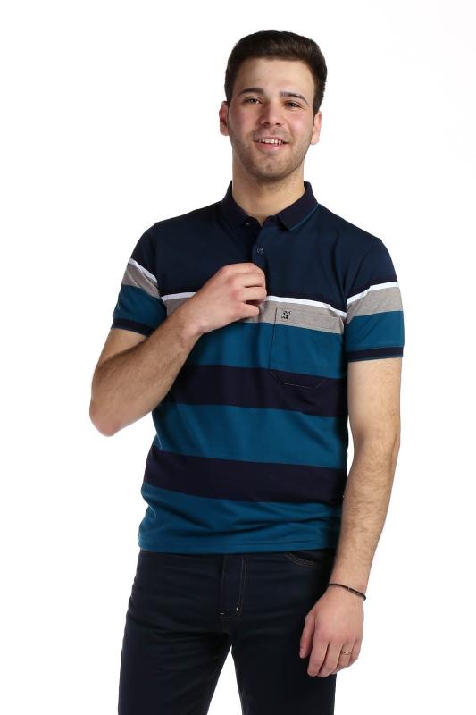 Tricou bleumarin cu dungi albastre 9004-2 F1
