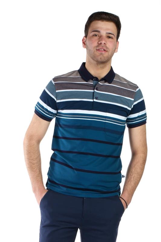 Tricou turcoaz cu dungi bleumarin si albe 13-16-2 F1