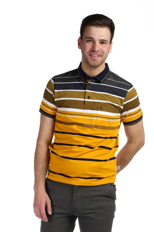 Tricou mustar cu dungi bleumarin si albe 13-16-3 F1
