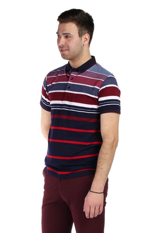Tricou bleumarin cu dungi rosii si albe 13-16-4 F1