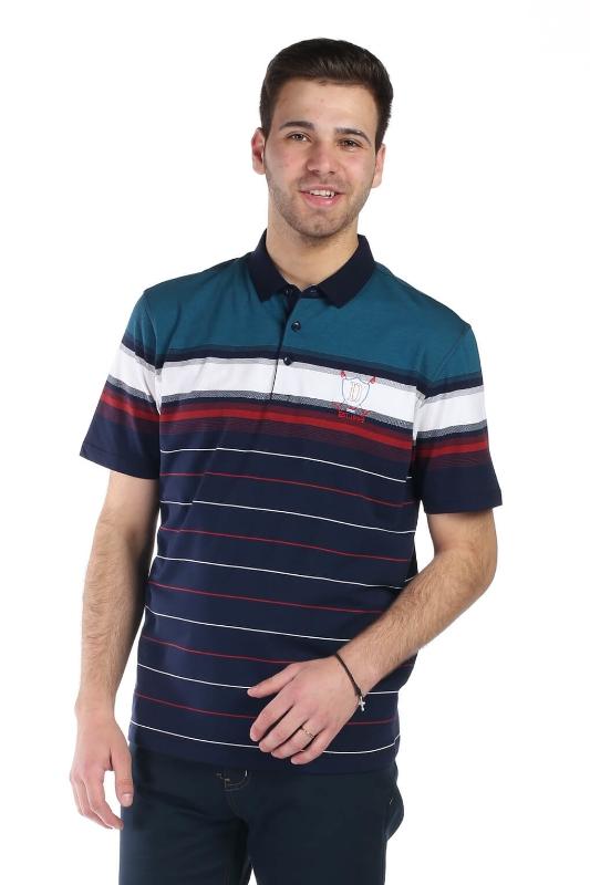 Tricou bleumarin cu dungi turcoaz 2031-1 F1
