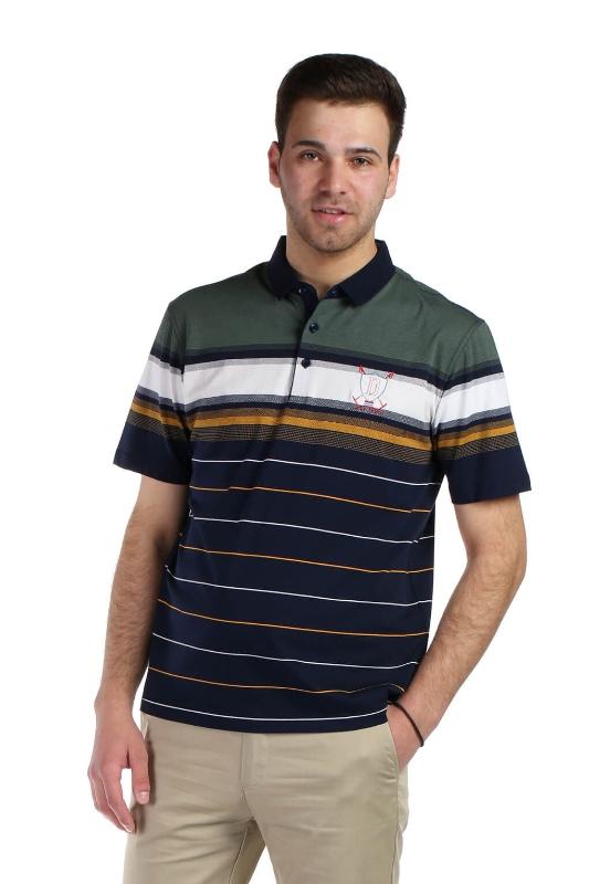 Tricou bleumarin cu dungi verzi 2031-2 F1