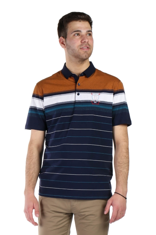 Tricou bleumarin cu dungi maro si albe 2031-3 F1