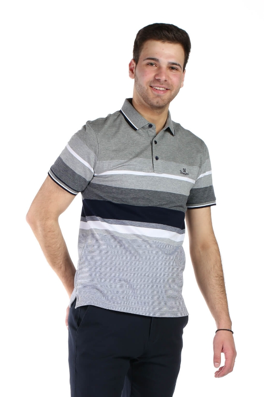 Tricou gri cu dungi R1911-2 F1
