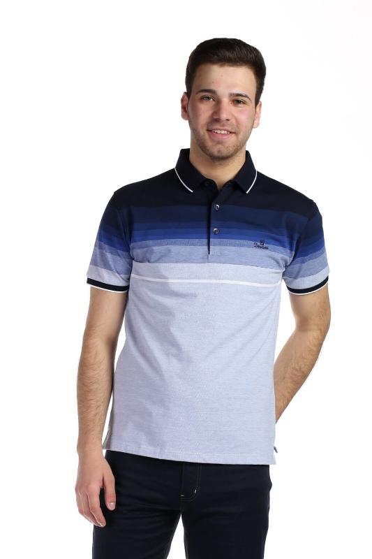 Tricou albastru cu dungi bleumarin D9253-2 F1